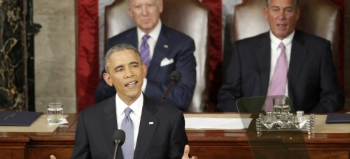 President Barack Obama gives his State of the Union address before a joint session of Congress on Capitol Hill in Washington, Tuesday, Jan. 20, 2015, Vice Presient Joe Biden and House Speaker John Boehner of Ohio listen. (AP Photo/J. Scott Applewhite)
