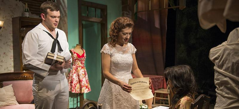 "Drew Schad, Daniela Colucci and Eileen Niccolai in the Shattered Globe Theatre's production of ""The Rose Tattoo,"" by Tennessee Williams, directed by Greg Vinkler. (Photo courtesy of Michael Brosilow)"