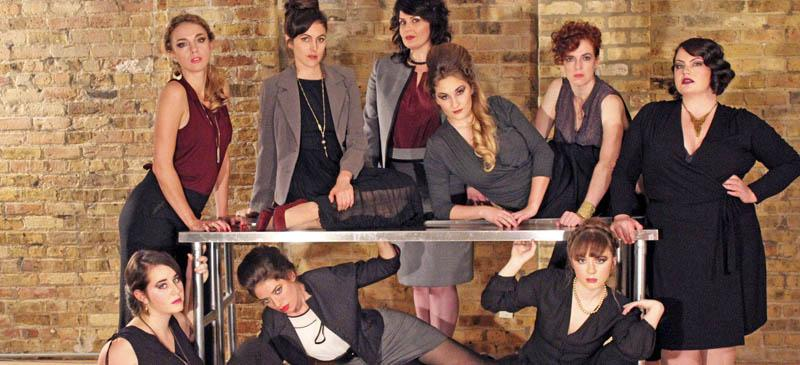 """The cast of """"Top Girls"""" by Caryl Churchill, directed by Mark Boergers. Clockwise from upper left:  Kate Smith, Aislinn Kerchaert, Patricia Lavery, Kelsey Phillips, Meg Elliott, Natalie Sallee, Tyler Meredith, Lana Smithner and Robyn Novak. (Photo courtesy of Alexa Ray Meyers)"""