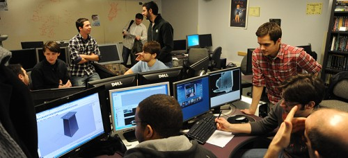 In this file photo, game design students work in a CDM lab. The university is moving forward with plans to create a new School of Design in the College of Computing and Digital Media. (Photo courtesy of DePaul University)