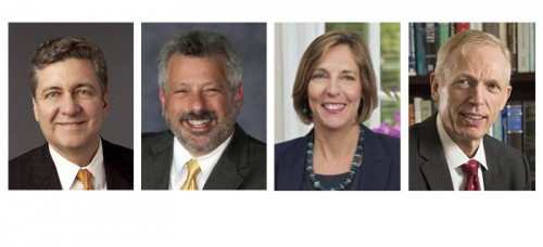 The four finalists for DePaul's provost search. From left to right: Alan Ray, James Coleman, Nancy Brickhouse, Marten denBoer. (Photos courtesy of DePaul University)