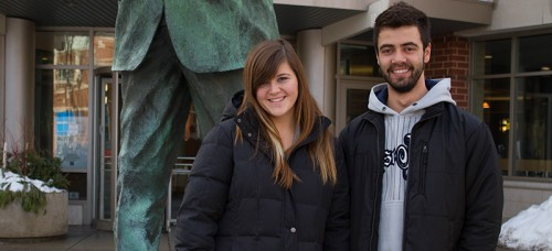 DePaul students Emily Franks and Jose Pauletto first met in person last September after meeting on Tinder. Pauletto, originally from Brazil, began using the app to practice his English. (Grant Myatt / The DePaulia)