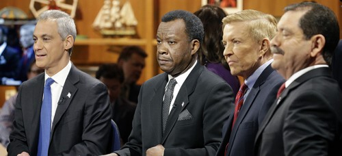 Mayor Rahm Emanuel (L) has battled mayoral candidates (L-R) Willie Wilson, Bob Fioretti, and Chuy Garcia on Chicago's policy of a mayor-appointed school board. (Nam Y. Huh | AP)