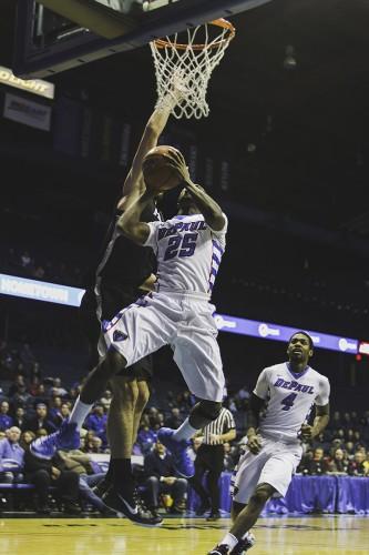 DePaul guard Durrell McDonald goes up for the layup Wednesday against Providence. The Blue Demons lost that game and the following game to Georgetown, 68-63, on Saturday. (Josh Leff / The DePaulia)
