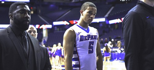 DePaul guard Billy Garrett Jr. looks on after Wednesday's 84-57 loss to Providence at Allstate Arena. (Josh Leff / The DePaulia)