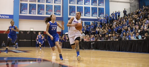 DePaul guard Brittany Hrynko is averaging 5.4 assists per game this season. (Josh Leff / The DePaulia)