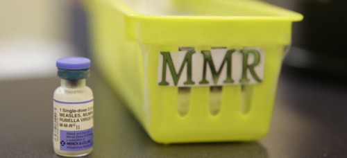 A measles vaccine is shown on a countertop at the Tamalpais Pediatrics clinic Friday, Feb. 6, 2015, in Greenbrae, Calif. (AP Photo/Eric Risberg)