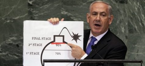 In this Thursday, Sept. 27, 2015 file photo, Israeli Prime Minister Benjamin Netanyahu shows an illustration as he describes his concerns over Iran's nuclear ambitions during his address to the 67th session of the United Nations General Assembly at U.N. headquarters. (AP Photo/Richard Drew, File)