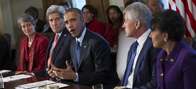 President Barack Obama discusses the budget proposal with the Cabinet. (Evan Vucci | AP)