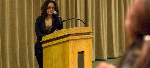 Actress Judy Reyes speaks to DePaul students and faculty Thursday afternoon at the student center.  (Josue Ortiz / The DePaulia)