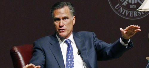 Mitt Romney discussing a possible presidential run on Jan. 28. (Rogelio V. Solis | AP)