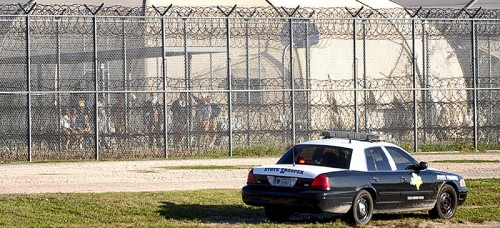 The exterior of Willacy County Correctional Center in Raymondville, Texas, where prisoners rioted on Feb. 20. (David Pike | AP)
