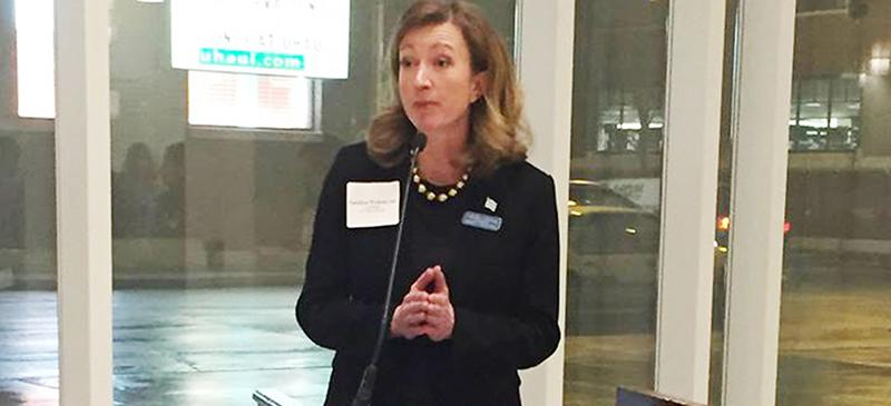 Caroline Vickrey speaks at an event in January at DePaul during her campaign against 43rd Ward incumbent Ald. Michele Smith. (Brenden Moore / The DePaulia)
