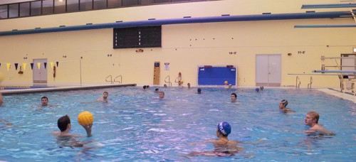 DePaul's Water Polo Club practices at Northeastern University. The club formed three years ago during founder Rashid Klostermann's sophomore year. (Emily Brandenstein / The DePaulia)