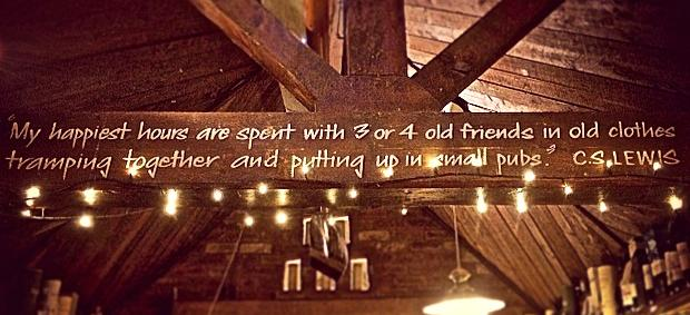 The rafter in The Eagle and Child, a pub once frequented by C.S. Lewis. (Charli Rose / The DePaulia)