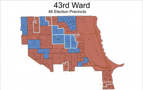 43rd Ward election results •  Michele Smith - 41.7 percent (red) •  Caroline Vickrey - 35.8 (blue) •  Jen Kramer - 16.7  •  Jerry Quandt - 5.9 *Outlined precincts indicate where candidate won more than 50 percent of vote
