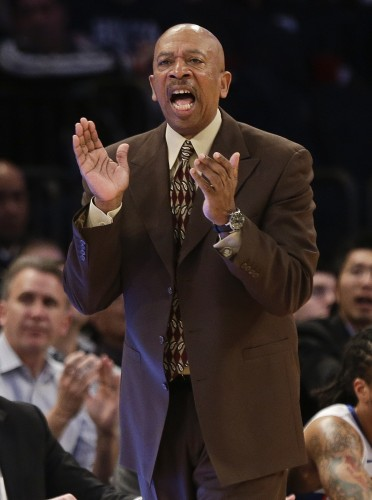 DePaul head coach Oliver Purnell calls out to his team during the first half of an NCAA college basketball game against Creighton in the first round of the Big East Conference tournament, Wednesday, March 11, 2015, in New York. (AP Photo/Frank Franklin II)