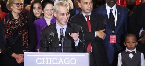 Incumbent Rahm Emanuel at his election night party Feb. 24. (Vanessa Bell / The DePaulia)