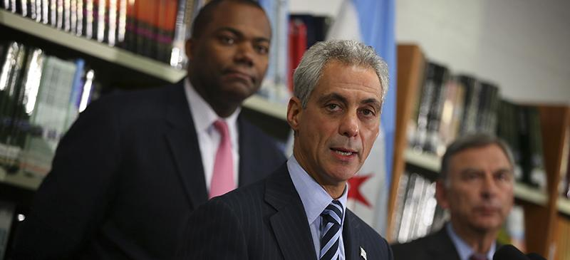 Some analysts believe an elected school board would reduce the infuence that Mayor Rahm Emanuel (center) has over bureaucrats such as former Chicago Public Schools CEO Jean-Claude Brizard (left), or Chicago Board of Education president David Vitale. (E. Jason Wambsgans/Chicago Tribune/MCT)