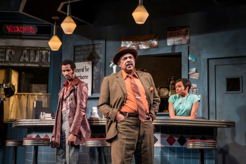 Anthony Irons (Wolf), Terry Bellamy (Memphis) and Nambi E. Kelley (Risa) in August Wilson's Two Trains Running, directed by Chuck Smith. (Photo courtesy of the GOODMAN THEATRE)