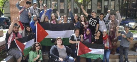 DePaul Divest organizers and supporters celebrate the success of their referendum on May 23, 2014. (Photo courtesy of Students for Justice in Palestine)