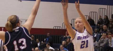 Spectator sport: Injured Megan Rogowski of DePaul women's basketball sits out on senior day