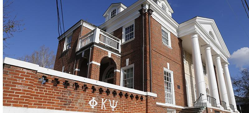 The Phi Kappa Psi fraternity house at the University of Virginia in Charlottesville, Virginia. (Steve Helber | AP)