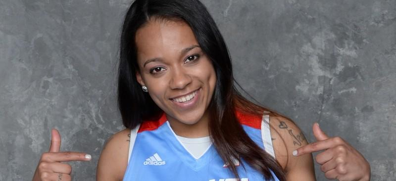 Brittany Hrynko will be fighting for a spot to make the Atlanta Dream's roster. They have 16 players on roster for training camp. (Photo by Jennifer Pottheiser/NBAE via Getty Images)