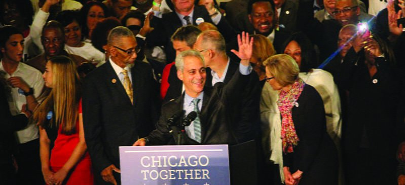 Mayor Rahm Emanuel makes his victory speech at Plumbers Union hall the night of Tuesday, April 7. (Danielle Harris / The DePaulia)