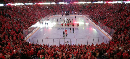 Fans cheer during the national anthem as the Chicago Blackhawks play host to the Boston Bruins in Game 2 of the NHL's Stanley Cup Finals at the United Center in Chicago on June 15, 2013. (Brian Cassella/Chicago Tribune/MCT)
