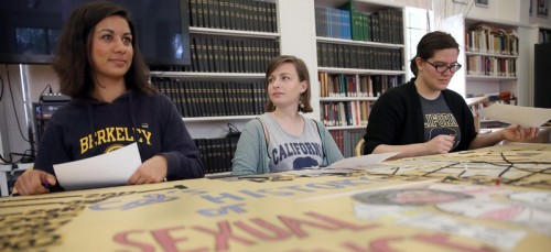 Students at the University of California, Berkeley, speak to the press after filing federal complaints against the school for failing to protect women from harassment and assault. (Jane Tyska/Bay Area News)