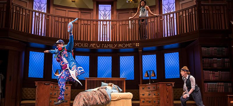 "John Stokvis (Kaz), Tawny Newsome (Ella Elizondo) and Theo Allyn (Mark Merriman) in Kristoffer Diaz's ""The Upstairs Concierge"" directed by KJ Sanchez at Goodman Theatre. (Photo courtesy of Goodman Theatre)"