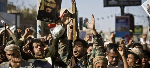 A crowd of Shiite rebels in Yemen denounce Saudi Arabian aggression in their country.  (AP Photo/Hani Mohammed)