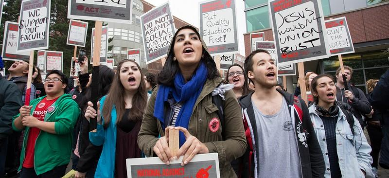 Seattle University faculty, students and staff stage one of the largest walkouts in the nation as part of National Adjunct Walkout Day Feb. 25. (Photo courtesy of SEIU Local 925)