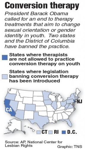 Map of states that have banned gay conversion therapy. (Tribune News Service)