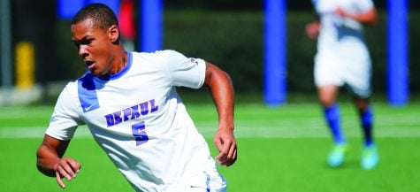 DePaul men's soccer player Jalen Harvey's balancing act