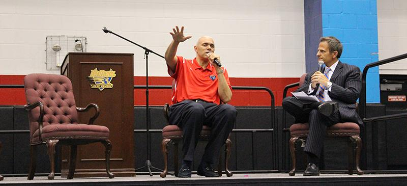 New DePaul men's basketball coach Dave Leitao answers fans questions. (Photo courtesy of DePaul Athletics)