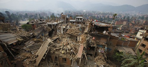 Rescue workers remove debris as they search for victims of an earthquake in Bhaktapur, Nepal. (AP Photo/Niranjan Shrestha, File)
