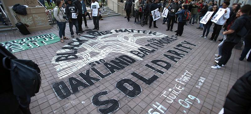 Grassroots and community activists from Oakland, California (above) to Washington, D.C. have been driving the continuing outcry against police brutality since the death of Freddie Gray. (Ray Chavez/The Oakland Tribune via AP) MANDATORY CREDIT
