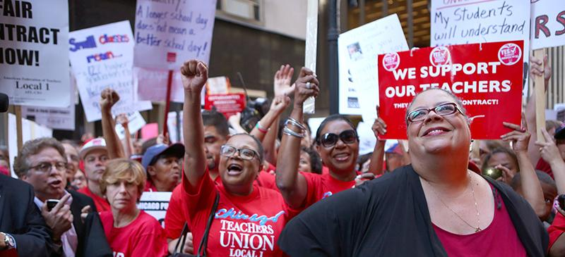 Karen Lewis (right) leads the charge at the Chicago Teachers Union strike in 2012. It was the first strike in 25 years and current contract negotiations may cause conflict again. (E. Jason Wambsgans/Chicago Tribune/MCT)