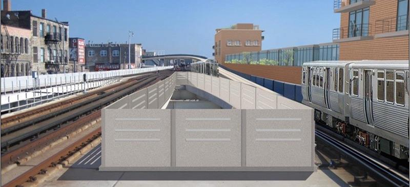 A rendering of the Belmont Red, Purple and Brown Line station showing the future flyover project. (Photo courtesy of CTA)