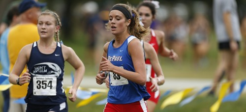 DePaul sophomore Lauren Sharp competes at a Track & Field event this season. Sharp misses the motivation her teammates give her when she's training alone in the summer. (Photo courtesy of DePaul Athletics)