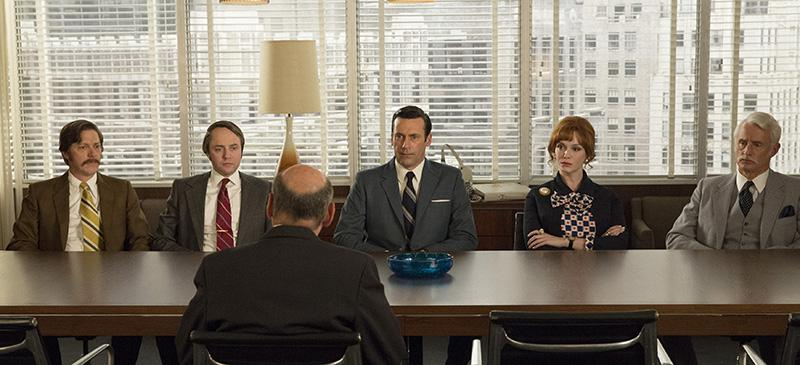 Kevin Rahm as Ted Chaough, Vincent Kartheiser as Pete Campbell, Jon Hamm as Don Draper, Christina Hendricks as Joan Harris and Jon Hamm as Don Draper. (Photo courtesy of MIchael Yarish/AMC)
