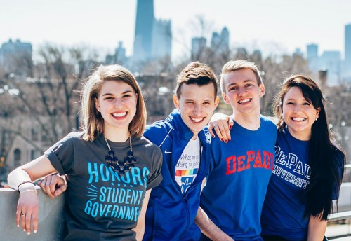 Candidates for SGA (from left) Kristina Pouliot, Patrick Pfohl, Damian Wille and Adriana Kemper are running for cabinet positions alongside Presidential candidate Vanessa Cadavillo. (Photo courtesy of Wille, Pouliot, Kemper, Pfohl for SGA Cabinet 2015)