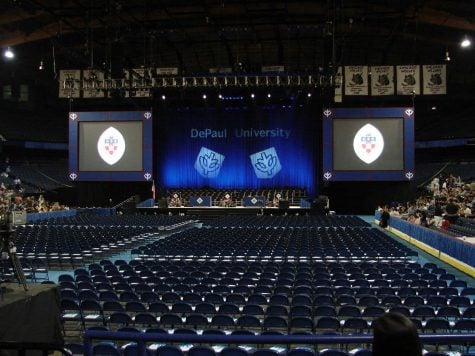 Allstate Arena will be one of two sites to host commencement ceremonies on Sunday. Many undergraduates receiving their diplomas will face the question of whether to go to graduate school and when. (Photo courtesy of Angie Linder)