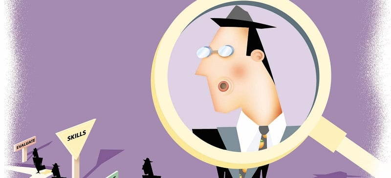 200 dpi 49p x 40p Robin Mills-Murphy color illustration of a job applicant placed under a magnifying glass while on a winding career path marked by road signs reading,