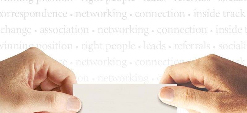 300 dpi Ron Borresen color illustration of hands holding blank paper against background of networking-related terms,