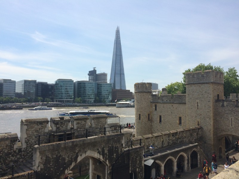 A view of the Shard from the Tower of London. The Shard is an 87 story building that is tallest building in the European Union. The tower of London was built around 1,000 years ago for William the Conqueror after he conquered Europe. The tower was used as a prison, an armory, and still today holds the Queen's Crown Jewels. (Marcus Cirone / The DePaulia)