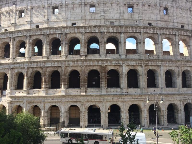 At 2000 years old, the Colosseum is a lasting testament to Roman civilization. It is an engineering and architectural marvel that housed brutal gladiatorial fights and other violent games.  (Marcus Cirone / The DePaulia)