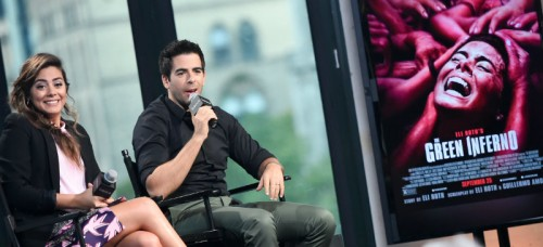 "Actor/director Eli Roth, right, and his wife Lorenza Izzo participate in AOL's BUILD Speaker Series to discuss their new films, ""Knock Knock"" and ""The Green Inferno"", at AOL Studios on Tuesday, Sept. 22, 2015, in New York. (Photo by Evan Agostini/Invision/AP)"